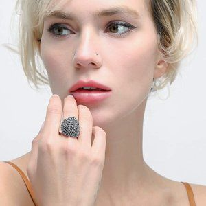 Silver Dome Statement Rings Antique Wide Ring